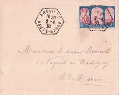 HAUTE MARNE - AGEVILLE - CACHET HEXAGONAL A TIRETS DU 2-4-1930 - AFFRANCHISSEMENT N°263 SEUL SUR LETTRE. - Marcophilie (Lettres)