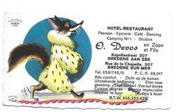 Hôtel Restaurant Devos Bredene Carton Publicitaire 10x6 - Publicités