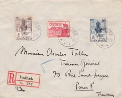 Env Recommandé T.P Ob .Vedbaek 25 5 37, Env Pour Paris 9ème - 1913-47 (Christian X)