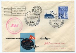 RC 15704 NORVEGE 1954 KOBENHAVEN - LOS ANGELES USA SAS FFC 1er VOL TB - Luftpost