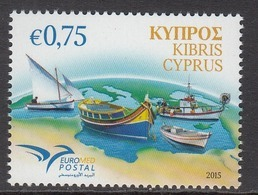 2015 Cyprus Euromed Postal Conference Boats Complete Set Of 1 MNH @ Below Face Value - Cyprus (Republic)