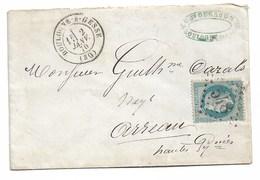 Lettre De BOULOGNE SUR GESSE  Pour ARREAU  Gc  548   1870 - Marcophilie (Lettres)