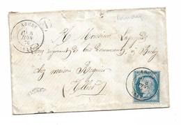 """Lettre De ARUDY à Vichy Cachet """"A""""  1876 - Poststempel (Briefe)"""