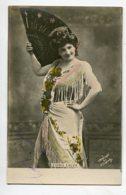 ARTISTE 1319 Emma CALVE Danseuse Espagne Grand Eventail Noir Timbrée 1903 Photographe - Artisti