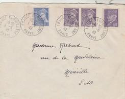 Yvert 509 Pétain + 407 + 413 Paire Mercure Lettre Cachet Propagande France Européenne Paris 1/6/1942 - Covers & Documents