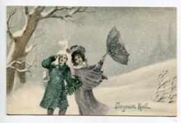 VIENNOISE 146 Série 5205 Joyeux Noel   Couple Parapluie Retourné Tempete  Neige Hiver - Vienne