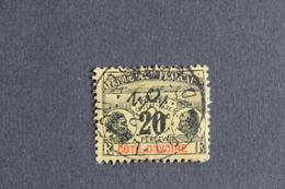 COTE D IVOIRE 1906 TIMBRE TAXE Y&T NO TA4 20C NOIR SUR JAUNE CLAIR OBLI..TB - Côte-d'Ivoire (1892-1944)