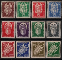 AOF - 1958 - Service N°Yv. 1 à 12 - Série Complète - Neuf Luxe ** / MNH / Postfrisch - Neufs