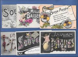FANTAISIES - Lot 6 Cpa SOUVENIR, PAQUES, SOUHAITS, BAISERS, PENSEE Etc.. En Grosses Lettres - Fancy Cards