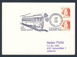 USA 1988 Card Karte Carte - Fox River Trolley Museum - Electric Railroad Fair, South Elgin - Treinen