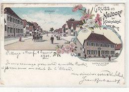 Gruss Aus Neudorf Bei Hüningen - Gasthaus Z. Engel - Interessante Frankatur - 1901        (A-189-191009) - Elsass