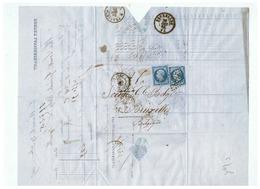 LETTRE PORTET LAVIGNERIE & Cie à LE MANS Pour BRUXELLES 1865 - Marcophilie (Lettres)