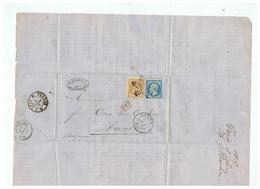 LETTRE DEPART PARIS OBLITERATION  ETOILE MUETTE POUR ANVERS (BELGIQUE) 1867 - Marcophilie (Lettres)