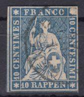 Switzerland 1854 10 Rp Dark Blue Mi#14 Used - 1854-1862 Helvetia (Imperforates)