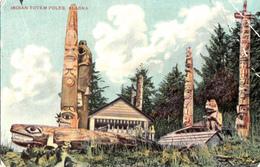 Alaska - Indian Totem Poles - Written In 1912 - Damaged - See 2 Scans - Indiens De L'Amerique Du Nord