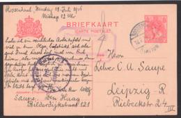 Roosendaal GA-Karte  Nach Leipzig, Mit St. Auslandsstelle Emmerich - Freigegeben - 18.7.1916 - 1891-1948 (Wilhelmine)