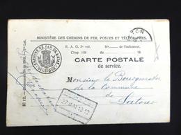 Dienstpostkaart Ministerie Van Spoorwegen / Carte Postale De Service 1912 - Postmarks - Lines: Ambulant & Rural