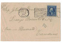 IZ448   USA 1921 Cover Plymouth To Camerino Italy + Special Postmark - Briefe U. Dokumente