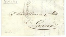 ITALIE Préphilatélie:  Petite LAC De Milan Du 26-2-1842 Pour Gênes - Italië