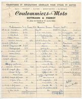 Facture 2 Pages , Cycles Et Motos , Peugeot ,Alcyon, Monet-Goyon... Coulommiers-Moto,77,2 Scans  ,1950 , Frais Fr 1.95 E - Automobilismo