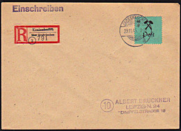 """GROSSRÄSCHEN 24A I 60 Pf. Mit PF """"P"""" Offen Lokalausgabe R-Brief Mit Aushilfszettel Freienhufen, Rs. Eingangsst. - Sovjetzone"""