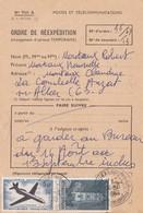 CARTE. ORDRE DE REEXPEDITION PTT. 1968 6Fr. AUZAT-S-ALLIER PUY-DE-DOME / 2 - Marcofilia (sobres)