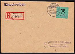 GROSSRÄSCHEN 24A Typ II 60 Pf., Lokalausgabe R-Brief Mit Aushilfszettel Freienhufen - Sovjetzone