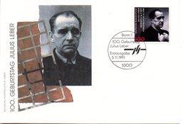 """BRD Schmuck-FDC """"100. Geburtstg Von Julius Leber"""" Mi. 1574 ESSt 5.11.1991 BONN 1 - FDC: Sobres"""