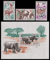 Tschad 1985 - Mi-Nr. 1124-1126 & Block 239 ** - MNH - Wildtiere / Wild Animals - Tschad (1960-...)