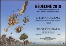 BEDECINE 2018 ILLZACH J. LERECULEY : étiquette Vin Crémant Label Alsacienne Cigogne Festival Bd Wollodrin - Champagner