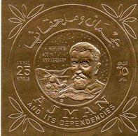 """Ajman - Timbre P.A Sur Feuille Dorée """" Kepler 's , 400th Anniversary """" Neuf , Autocollant - Adschman"""