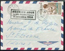 Polynésie Française - P. Aérienne N° 1 Sur Enveloppe De Papeete Pour St Etienne - Cachet 1er Jour 3 Novembre 1958 - B/TB - Covers & Documents
