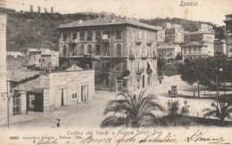 CARTOLINA VIAGGIATA PRIMI 900 SPEZIA COLLINE DEI VICCHI E PIAZZA SAINT-BON (TY8 - La Spezia