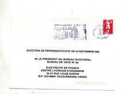 Lettre Flamme Lyon Election Edf - Mechanical Postmarks (Advertisement)