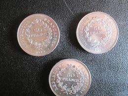 3 Pieces 50 Francs Argent 1975. 1976 .1977. - France