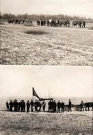 2 Photos Originales Enterrement, Corbillard à Cheval & Dépôt De Cercueil En Mer Pour Jeune Armée à Identifier Vers 1920 - Personnes Anonymes