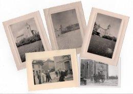 * - Lot De 5 Photos De Ville Sous Anjou (38) - Eglise, Neige, Pompiers En Exercice Ou Intervention, Tombereau, Années 50 - Lieux