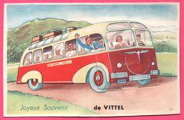 Cp Système 10 Vues - Vittel - Leporello - Joyeux Souvenir De Vittel - Bus - Autocar - Autobus - Edit. J. NOZAIS LALAUZE - Vittel Contrexeville