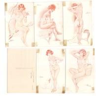 P745 Illustratori MEUNIER S DONNINE SEX 5 CARDS SERIE 439 2-3-5-6-7 Non Viaggiate - Meunier, S.