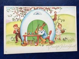 """Cpa --""""Enfants En Visite Surprise Chez M.lapin Le Peintre D'oeufs De Pâques""""-(1425) - Easter"""