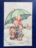 """Cpa --""""Enfants Sous Un Grand Parapluie Avec Petit Chiot Et Chatte Dans La Pluie""""-(1428) - Groupes D'enfants & Familles"""