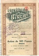 Titre Ancien - Verreries De Binche -Société Anonyme - Titre De 1919 - - Industrie