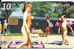 CARTE-PUCE-SUISSE-10CHF-Gem7-Se81-09/02-PLAGE-Utilisé-TBE - Schweiz