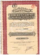"""Titre Ancien - Société Anonyme De Verreries De Chênée -""""Delhaise-Dethier"""" - Titre De 1920 - - Industrie"""