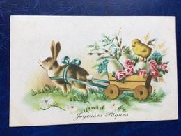 """Cpa --""""Attelage De Lapin Tirant Charette Avec Des Oeufs De Pâques Et Un Poussin""""--(1435) - Easter"""