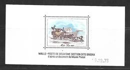 France  Petit Feuillet Daté Du 19-12-73 Représentant La Malle-poste Briska Sans Gomme - Sheetlets