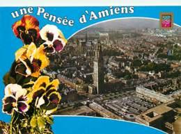 80 - Amiens - Vue Générale Aérienne Avec La Tour Perret Et La Cathédrale - Pensées - Fleurs - Voir Scans Recto-Verso - Amiens