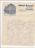 LETTRE   HOTEL  BRISTOL      GRENOBLE - France