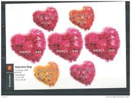 Norvège 1998 Feuillet Avec N°1234 Neuf** Saint Valentin - Unused Stamps
