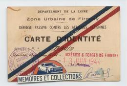 MILITARIA CARTE IDENTITE 1944 LOIRE FIRMINY DEFENSE PASSIVE ATTAQUES AERIENNES BE - 1939-45